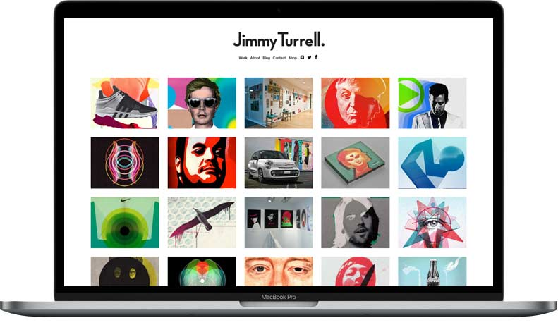 Website Rebuild for Jimmy Turrell on WordPress displayed on laptop Example